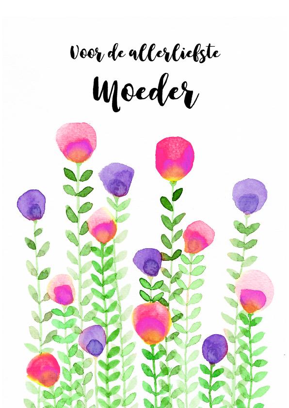 Moederdag kaarten - Aquarel bloemetjes voor moederdag