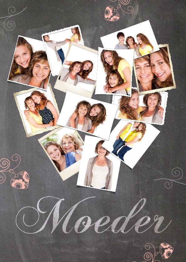 Moederdag kaarten - Collage in hartvorm krijtbord moeder