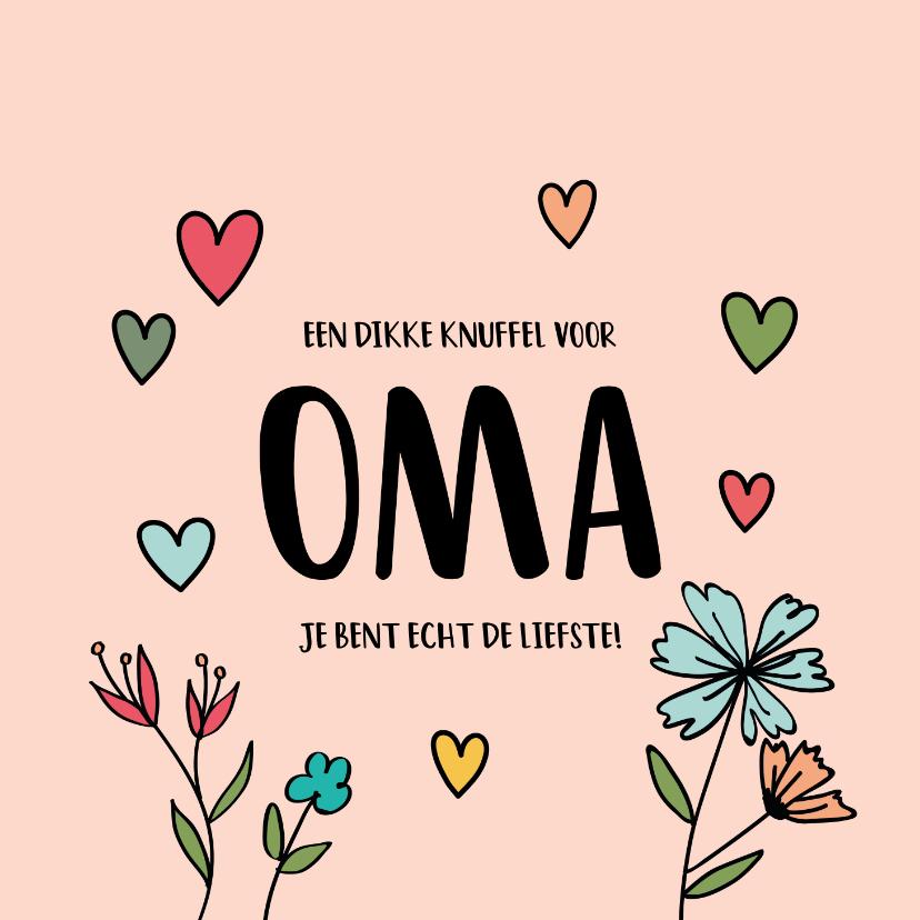Moederdag kaarten - Dikke knuffel oma - hearts and flowers - moederdagkaart