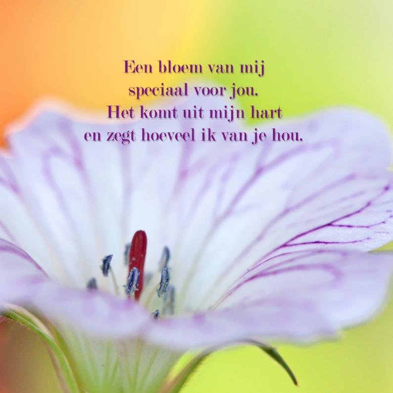Moederdag kaarten - Een bloem van mij speciaal voor jou