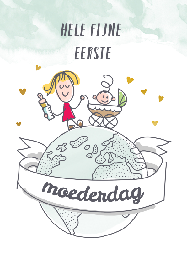 Moederdag kaarten - Eerste moederdagkaart met mama op wereldbol