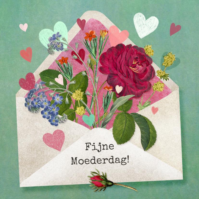 Moederdag kaarten - Fijne Moederdag envelop gevuld met bloemen en hartjes