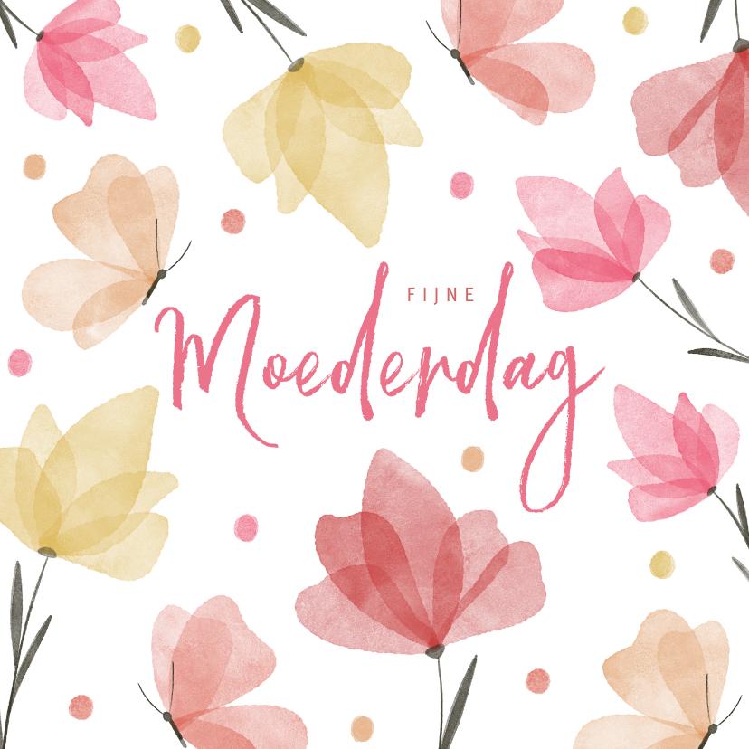 Moederdag kaarten - Fijne moederdag waterverf bloemen en vlinders