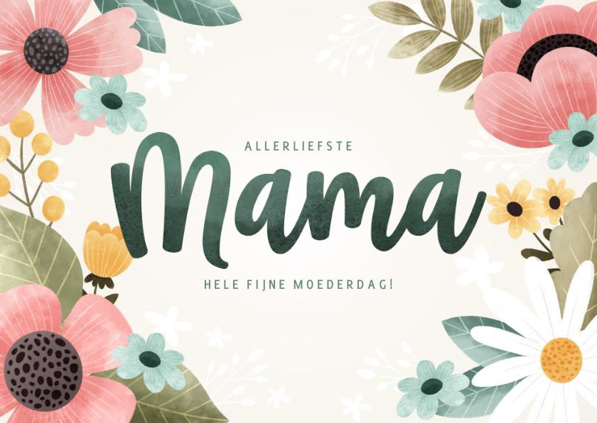 Moederdag kaarten - Fleurige moederdag kaart met bloemen, plantjes 'Mama'