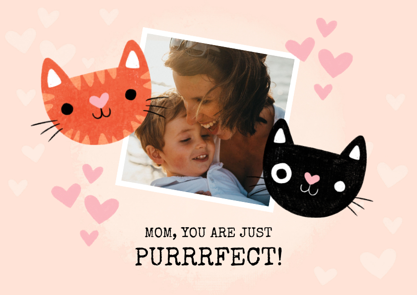 Moederdag kaarten - Grappige moederdag kaart katten mom you are just purrrfect!