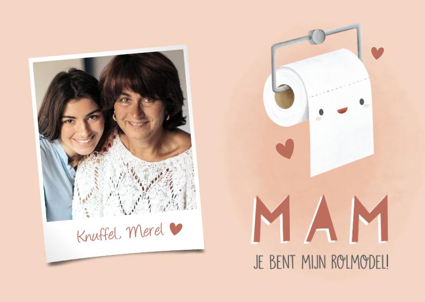 Moederdag kaarten - Grappige moederdag kaart wc rol, hartjes en eigen foto