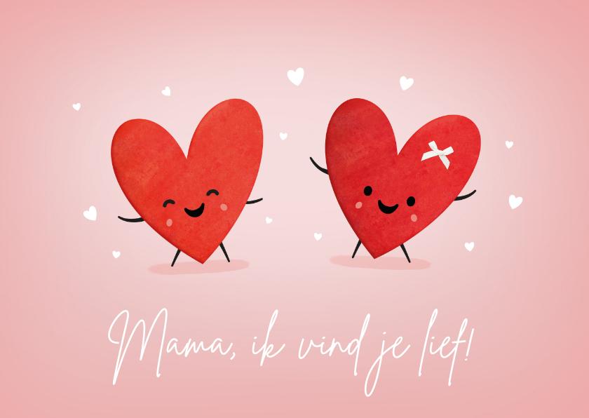 Moederdag kaarten - Grappige moederdagkaart met 2 hartjes met oogjes