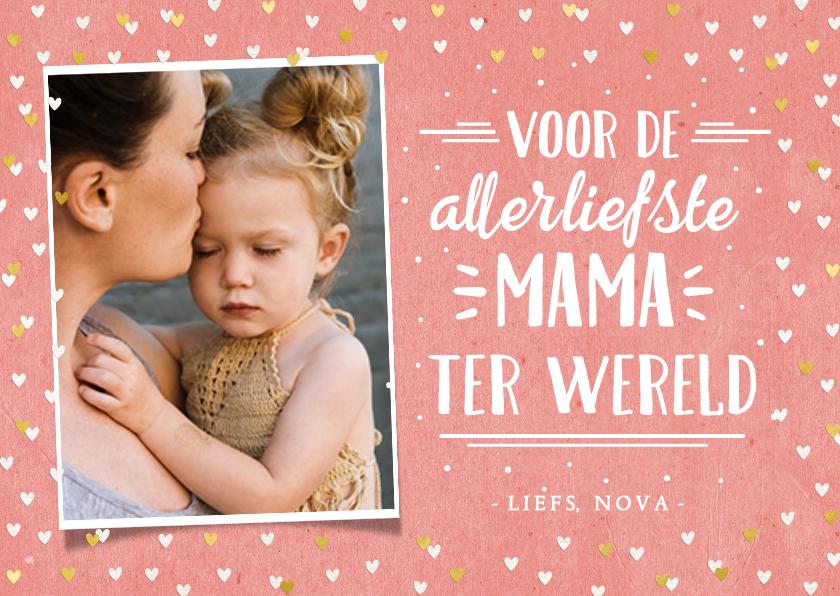 Moederdag kaarten - Hippe moederdagkaart met foto, handlettering & hartjes kader