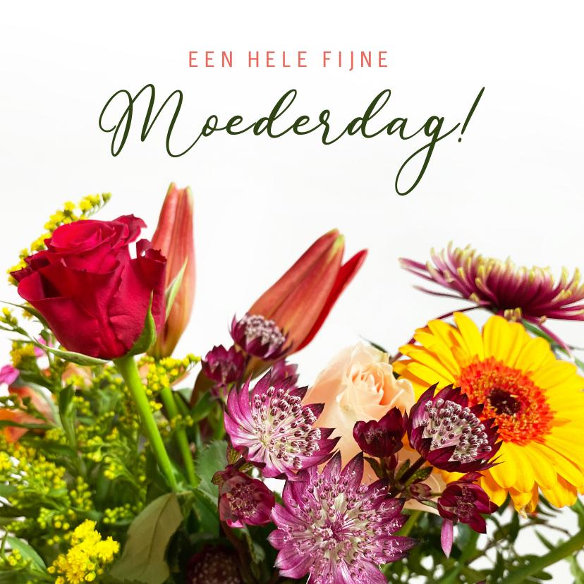Moederdag kaarten - Klassieke moederdagkaart met een foto van een fleurig boeket