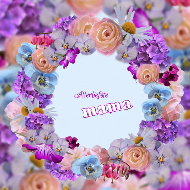 Moederdag kaarten - Kleurrijke moederdagkrans