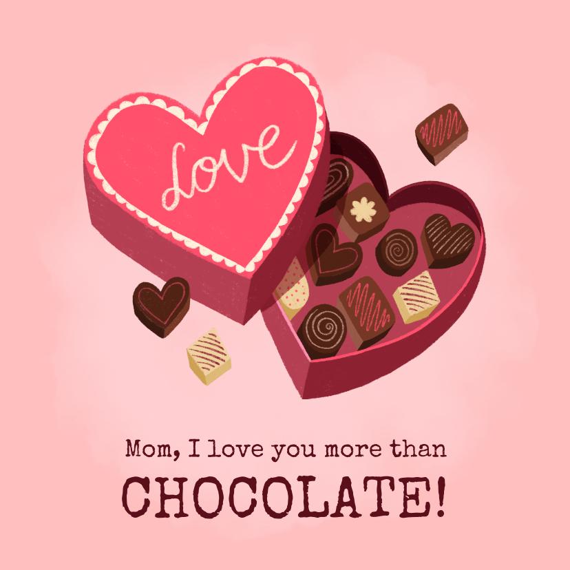 Moederdag kaarten - Lekkere moederdag kaart met doos bonbons en grappige tekst