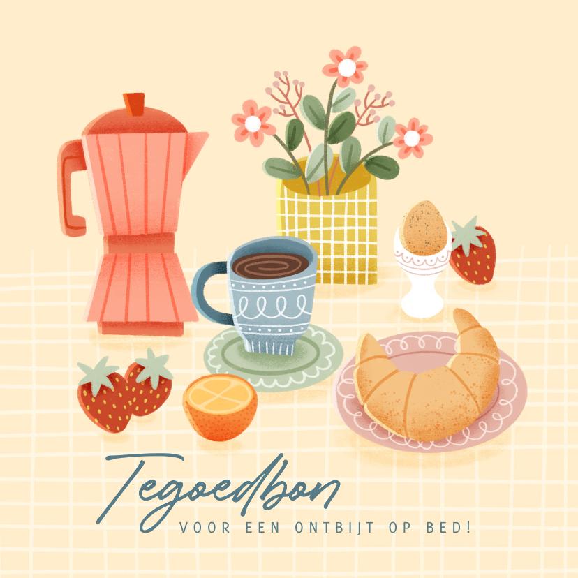 Moederdag kaarten - Leuke moederdag kaart tegoedbon voor ontbijt op bed
