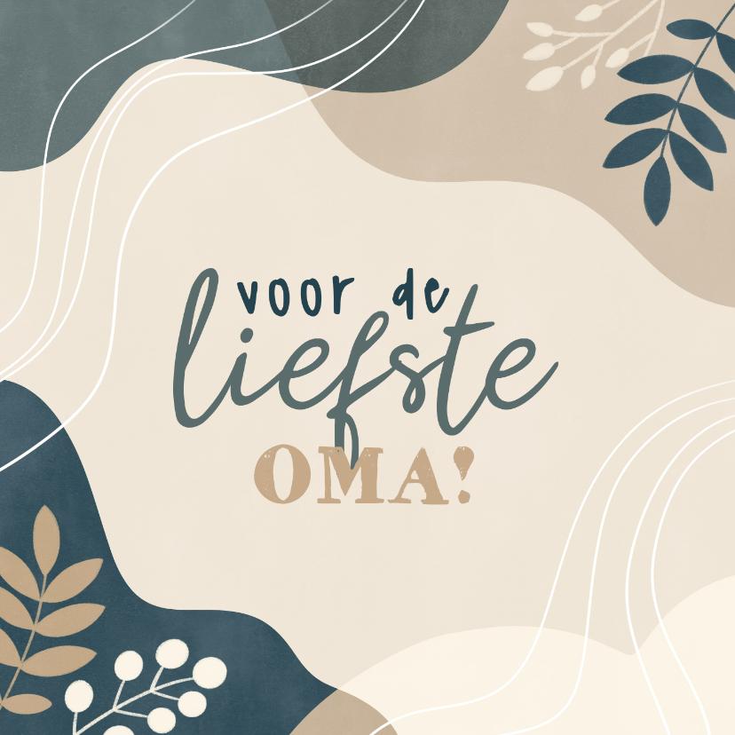Moederdag kaarten - Lieve moederdag kaart voor oma met vormen en plantjes