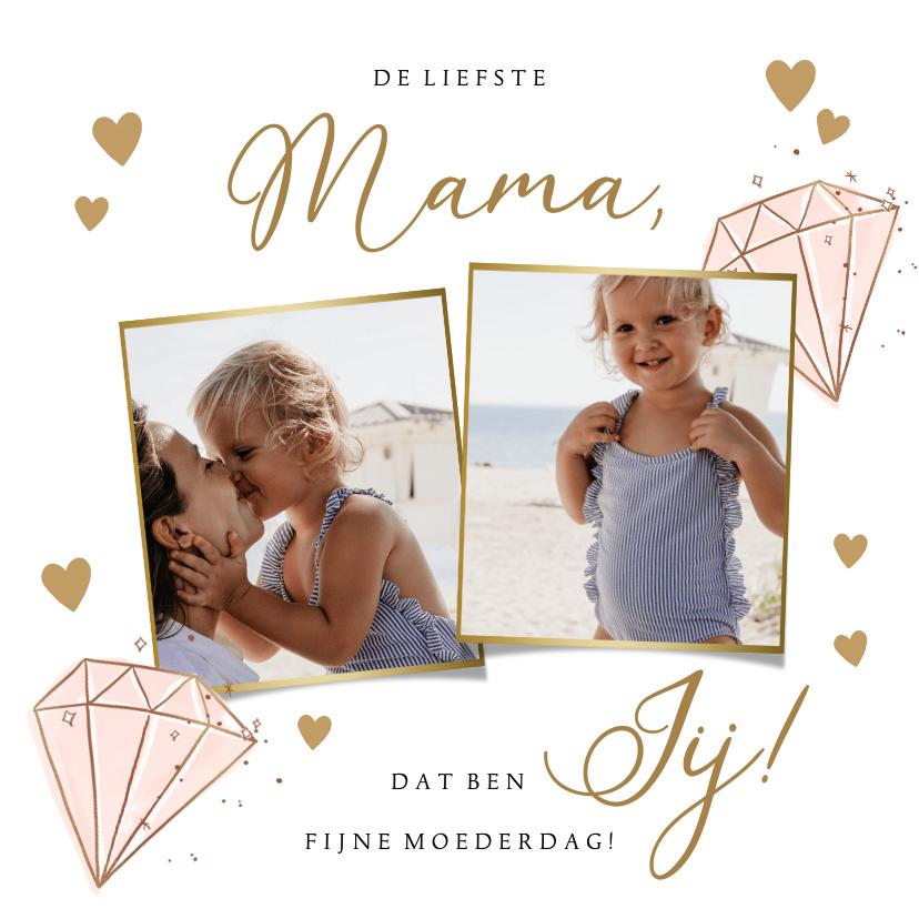 Moederdag kaarten - Lieve moederdagkaart met foto's en diamant