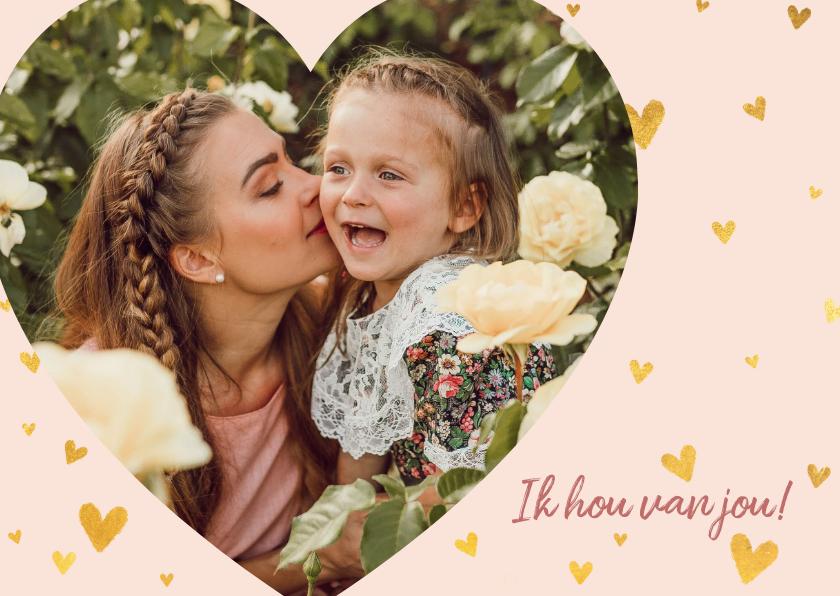Moederdag kaarten - Lieve moederdagkaart met gouden hartjes en foto in hartvorm