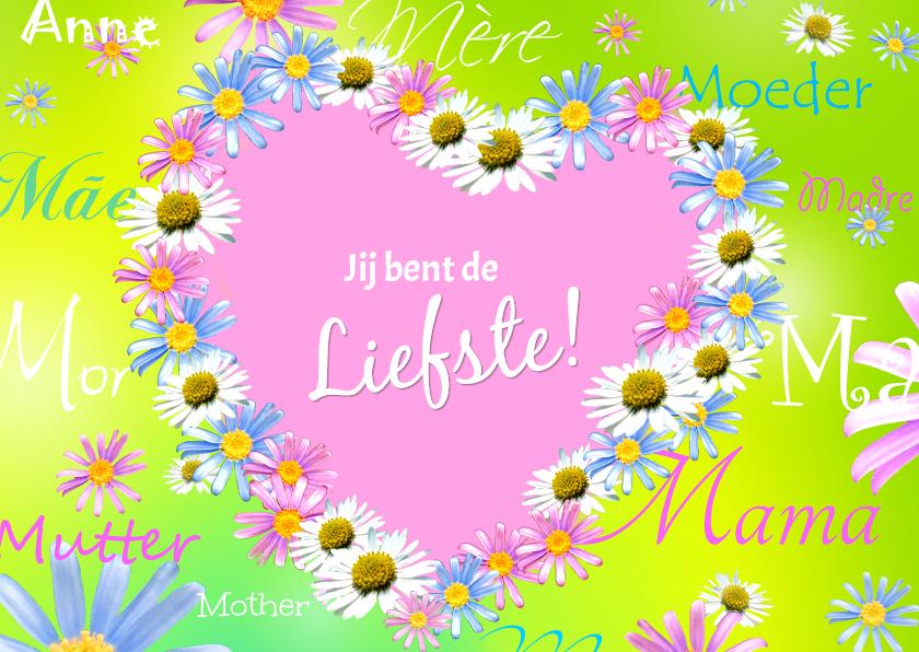 Moederdag kaarten - Moeder Liefdevol Bloemenhart