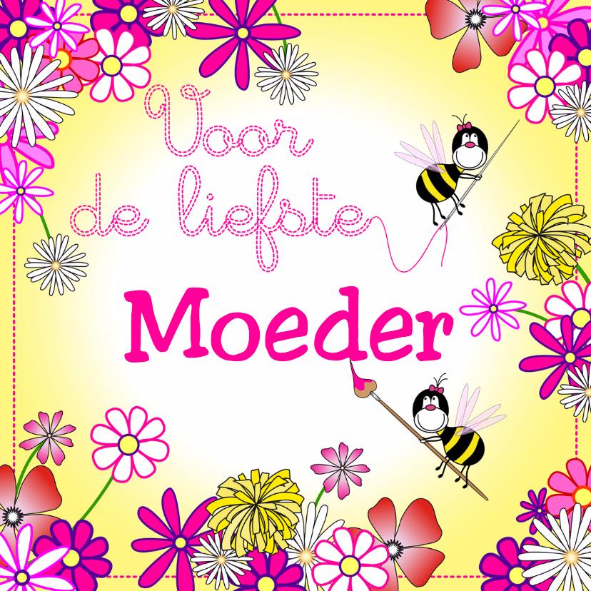Moederdag kaarten - moederdag bloemen en bijtjes