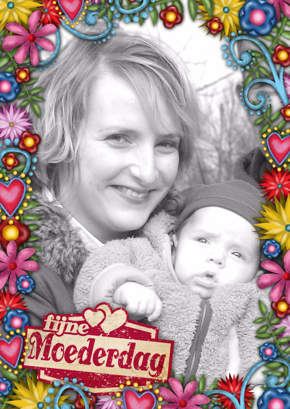 Moederdag kaarten - moederdag bloemen kader foto st