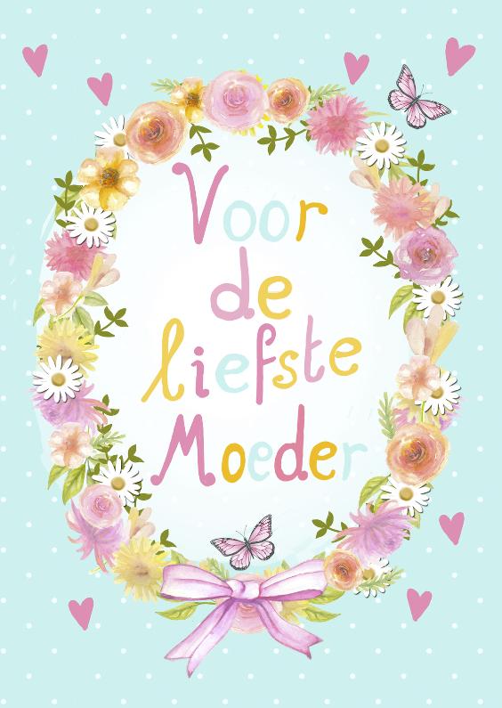 Moederdag kaarten - moederdag bloemenkrans