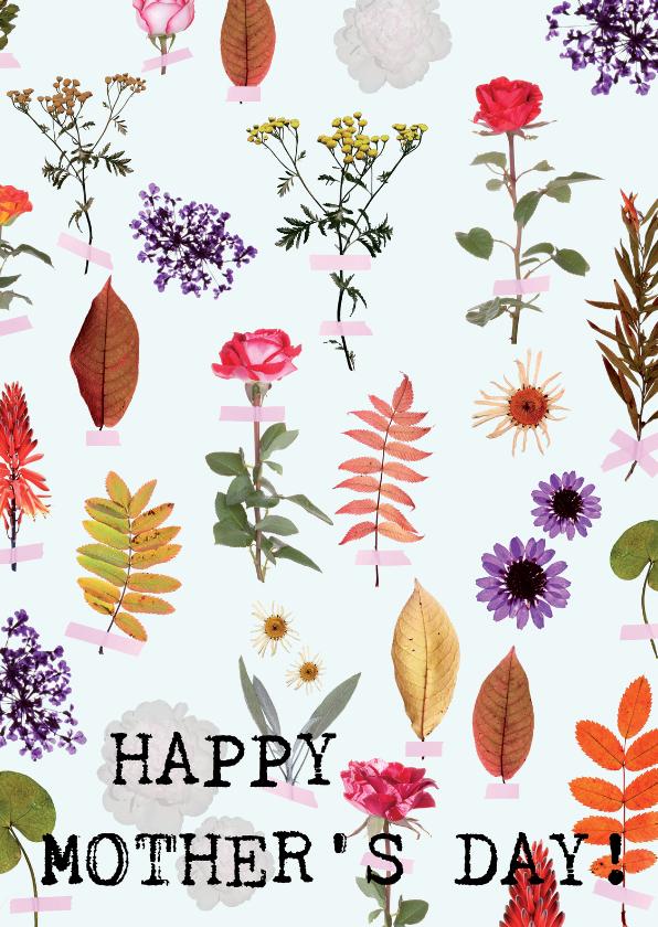 Moederdag kaarten - Moederdag bloemetjes en blaadjes