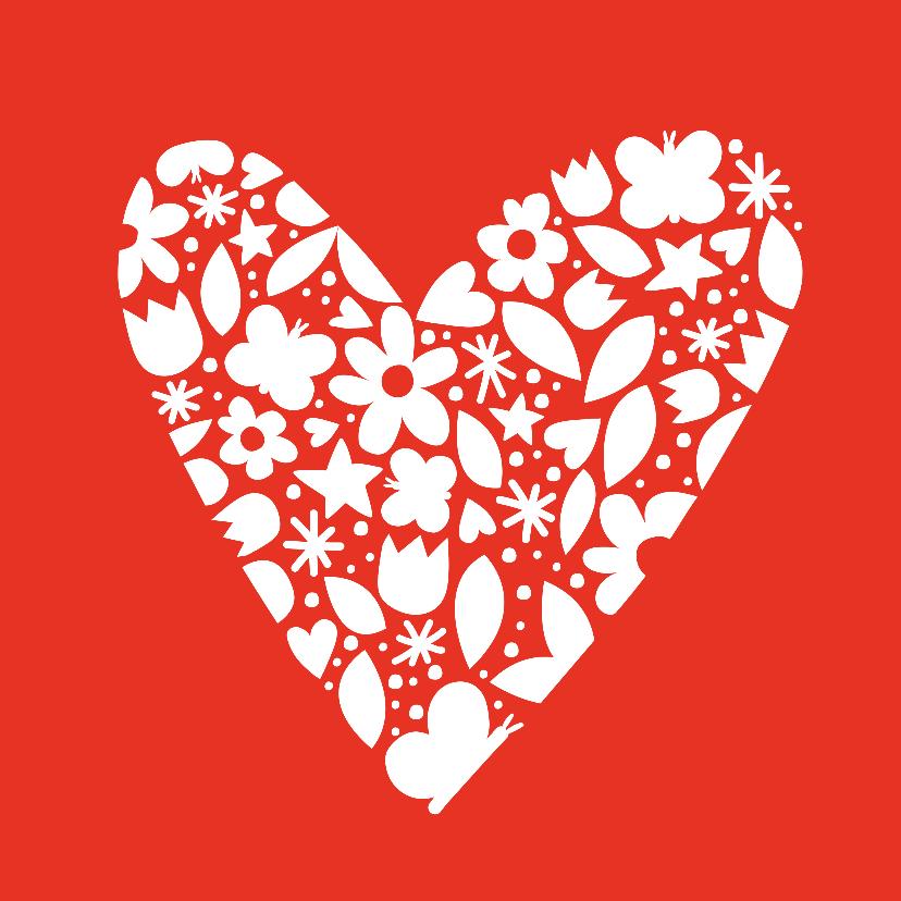 Moederdag kaarten - Moederdag bloemetjes hart