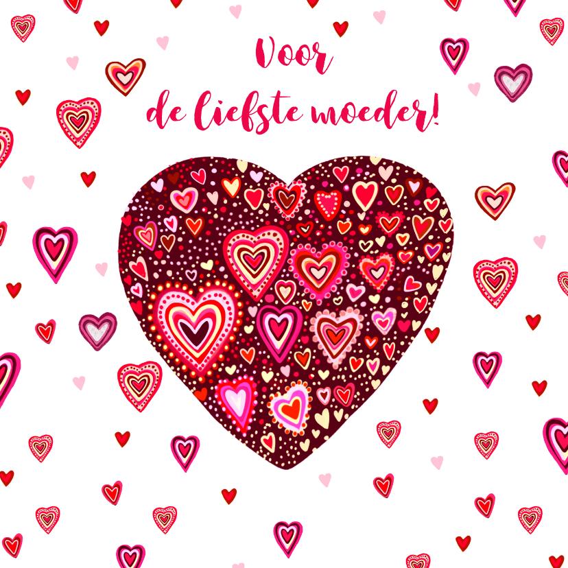 Moederdag kaarten - Moederdag gekleurde hartjes