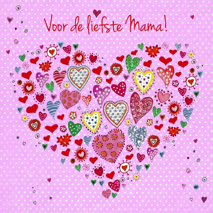 Moederdag kaarten - Moederdag Hartjes HART Liefste Mama
