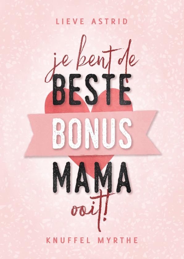 Moederdag kaarten - Moederdag kaart beste bonus mama met hartje en banner