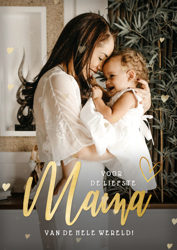 Moederdag kaarten - Moederdag kaart Mama met eigen foto en gouden hartjes kader