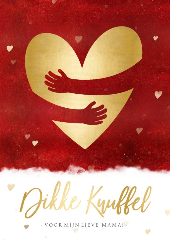 Moederdag kaarten - Moederdag kaart met gouden hart met papieren knuffel