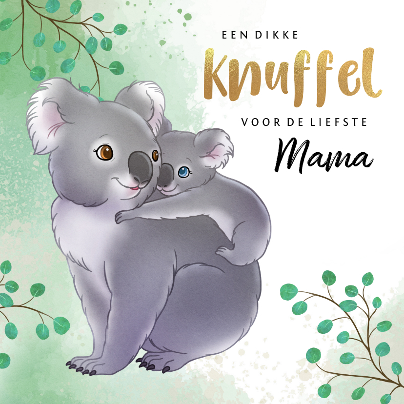 Moederdag kaarten - Moederdag kaart met mama koala en baby