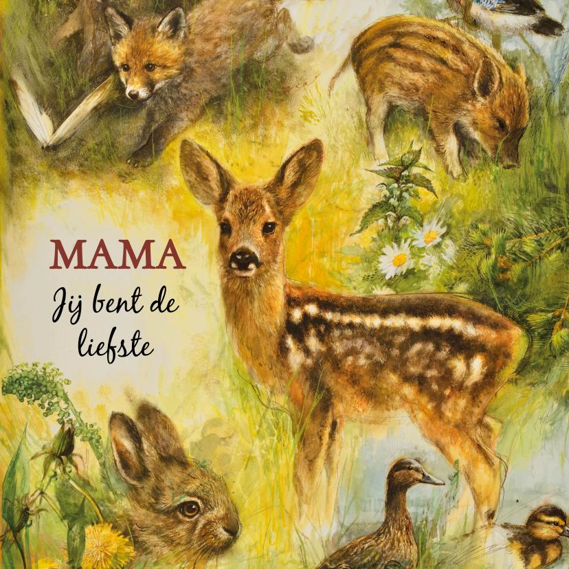 Moederdag kaarten - Moederdag kaart met verschillende dieren
