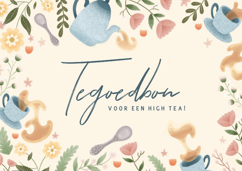 Moederdag kaarten - Moederdag kaart tegoedbon high tea met bloemen en thee