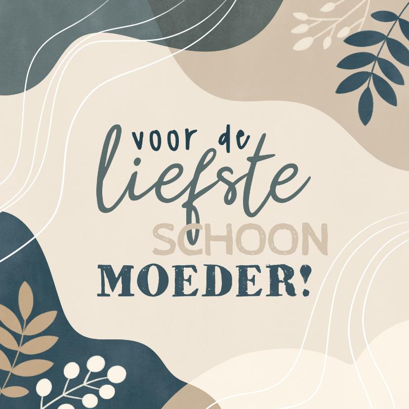 Moederdag kaarten - Moederdag kaart voor schoonmoeder met plantjes en vormen