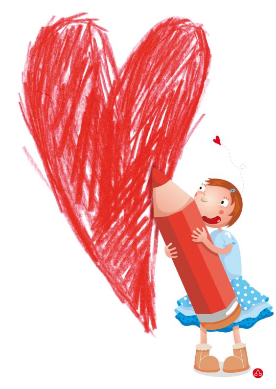 Moederdag kaarten - Moederdag met meisje die een hartje tekent