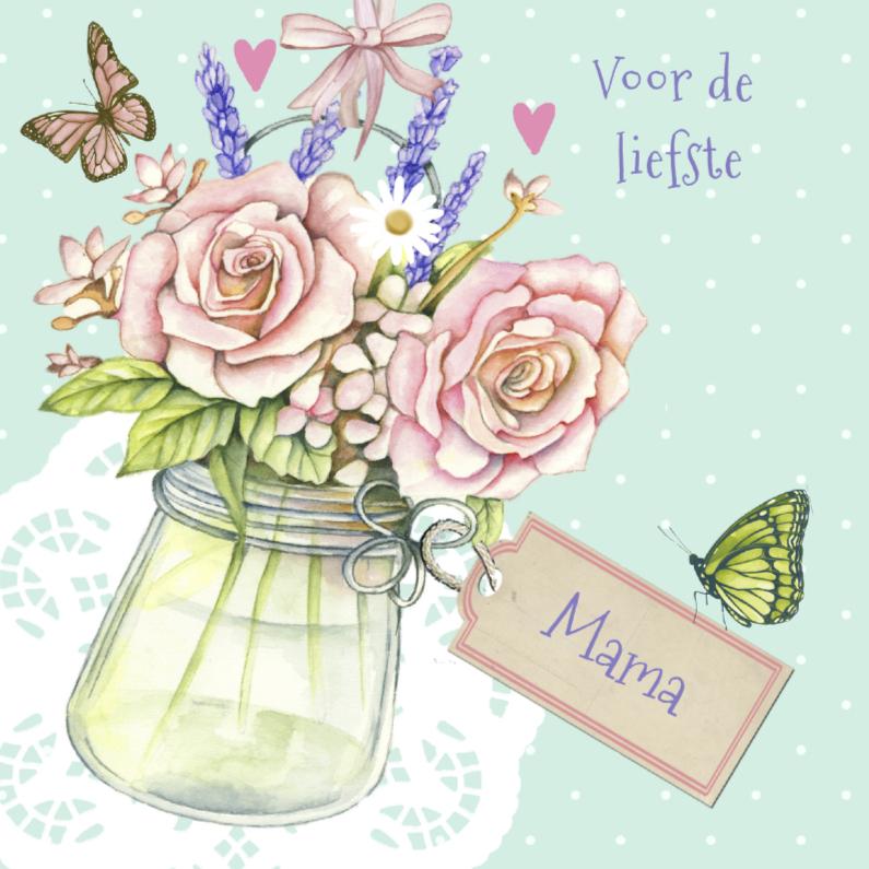 Moederdag kaarten - moederdag met vaasje rozen