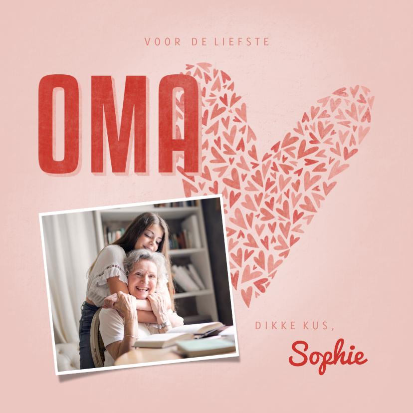 Moederdag kaarten - Moederdag Oma kaartje OMA met hart, foto en naam