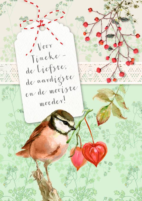 Moederdag kaarten - Moederdag, roze vogel en hartjes