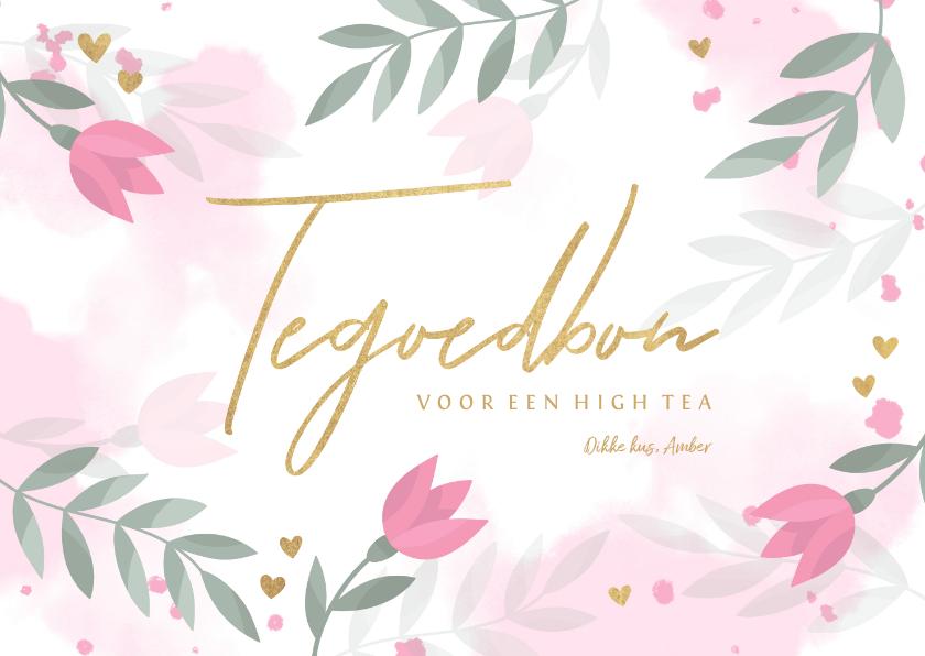 Moederdag kaarten - Moederdag tegoedbon bloemen, takjes, hartjes en waterverf