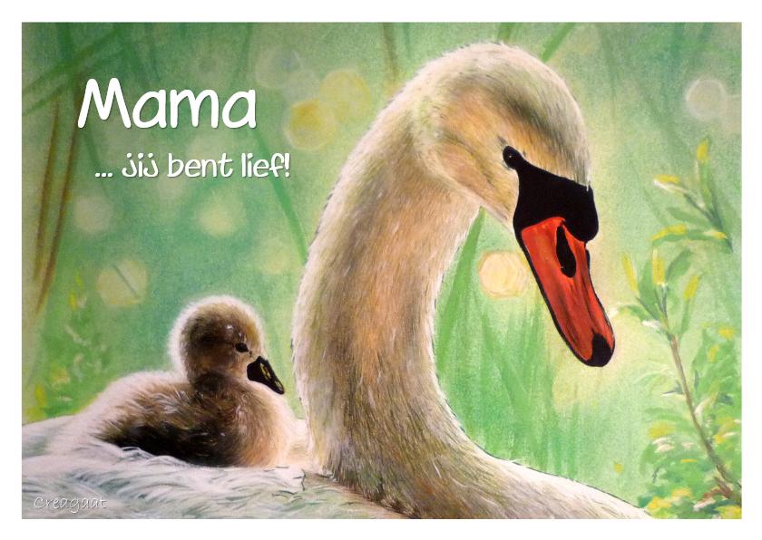 Moederdag kaarten - Moederdag zwaan met kind