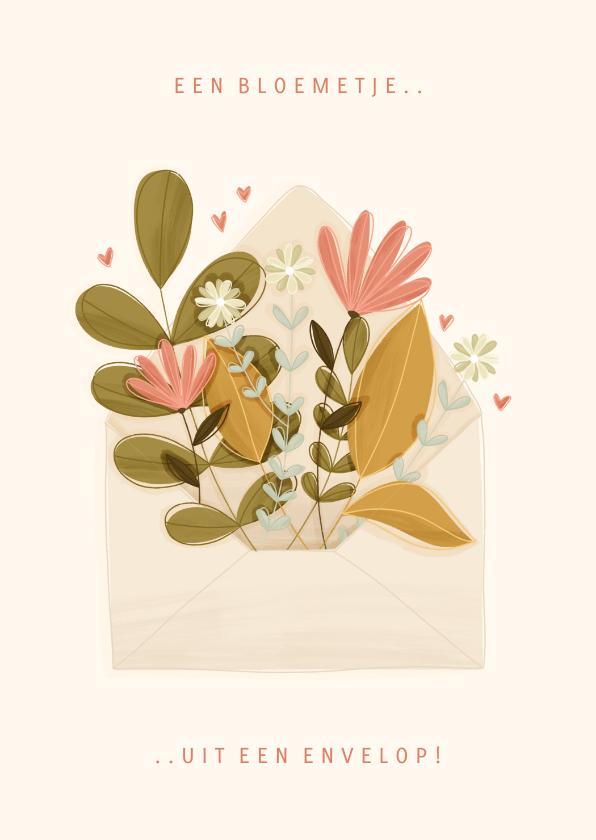 Moederdag kaarten - Moederdagkaart een bloemetje uit een envelop