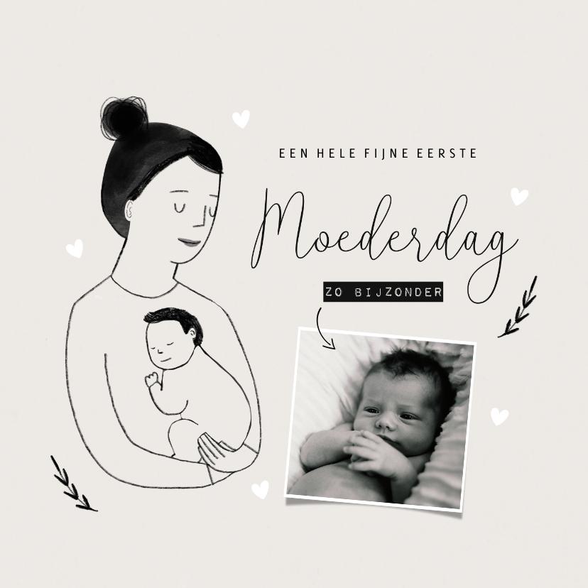 Moederdag kaarten - Moederdagkaart eerste moederdag met portretje en foto
