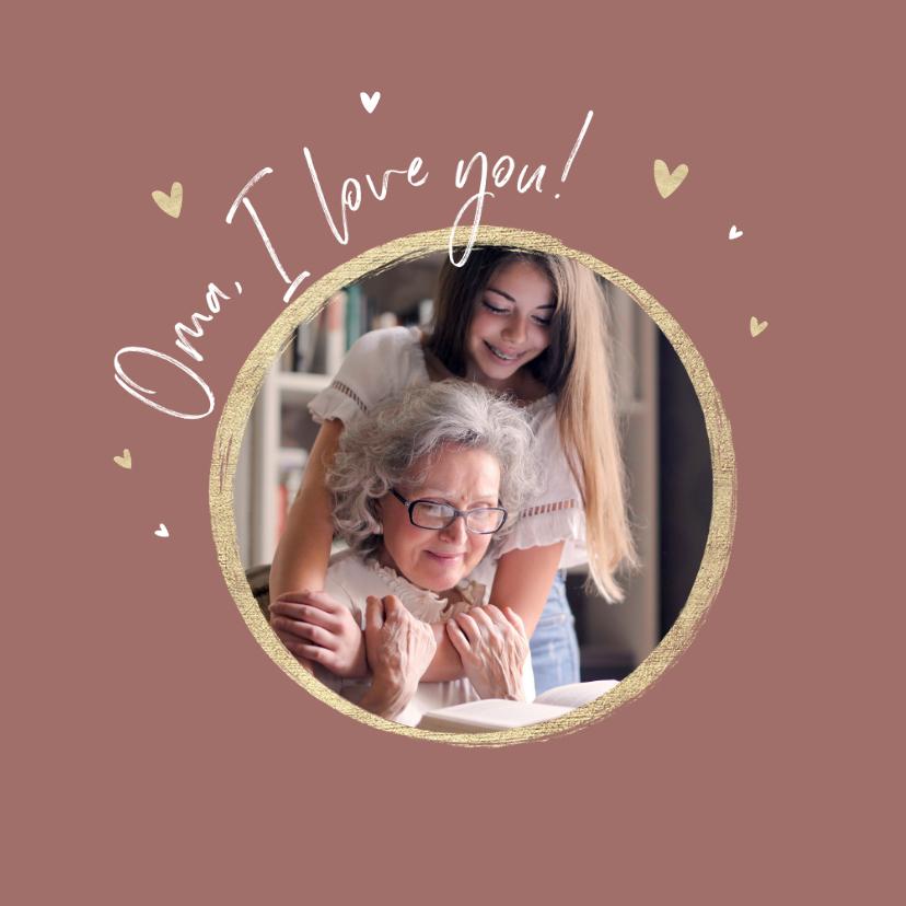 Moederdag kaarten - Moederdagkaart foto hartjes goud oma i love you