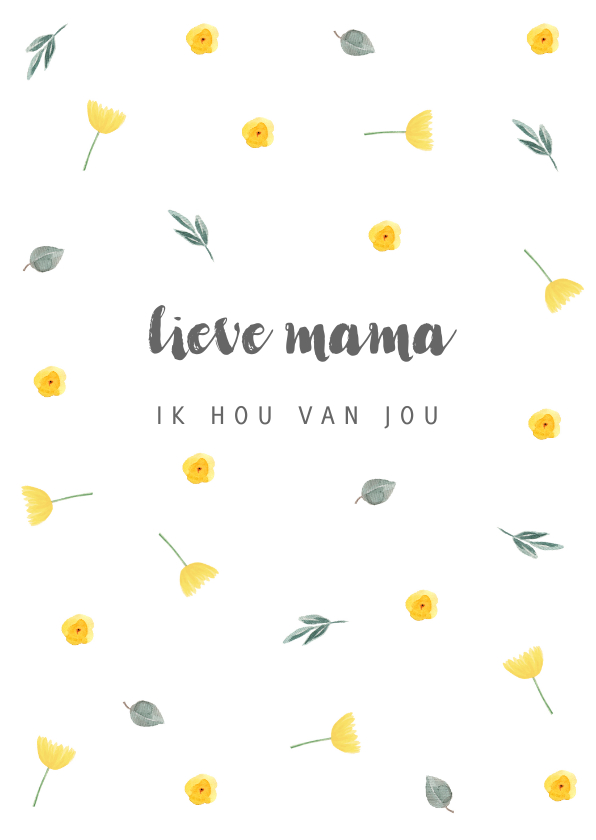 Moederdag kaarten - Moederdagkaart gele bloemetjes