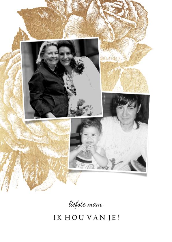 Moederdag kaarten - Moederdagkaart gouden roos met 2 foto's