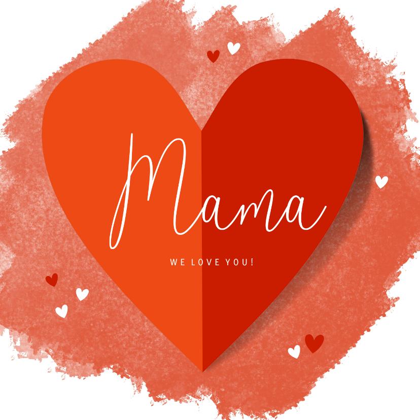 Moederdag kaarten - Moederdagkaart groot hart en hartjes op rode waterverf