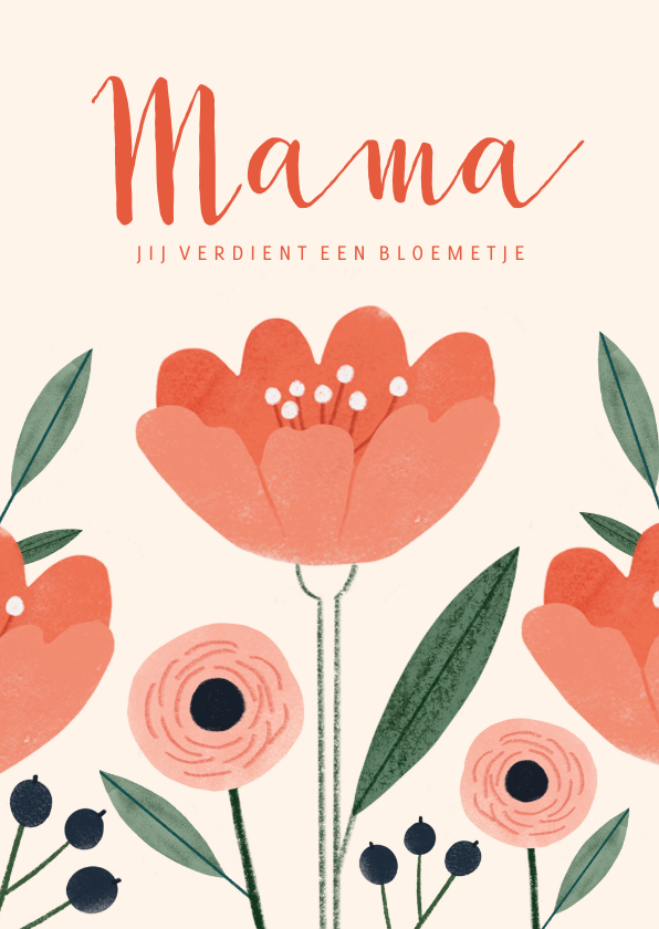 Moederdag kaarten - Moederdagkaart jij verdient een bloemetje in pastel kleuren