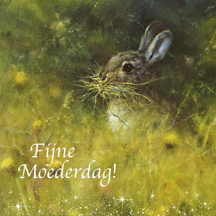 Moederdag kaarten - Moederdagkaart konijn in het wild