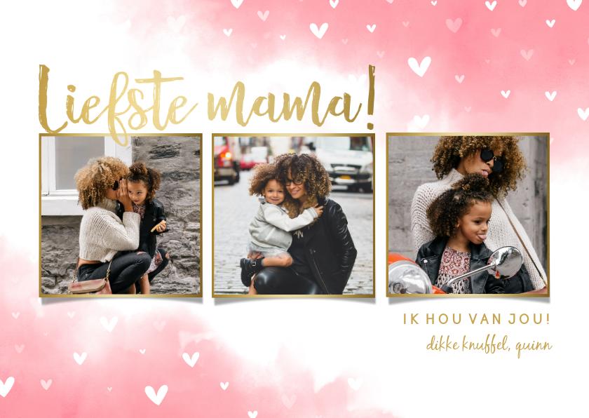 Moederdag kaarten - Moederdagkaart 'liefste mama!' fotocollage met hartjes