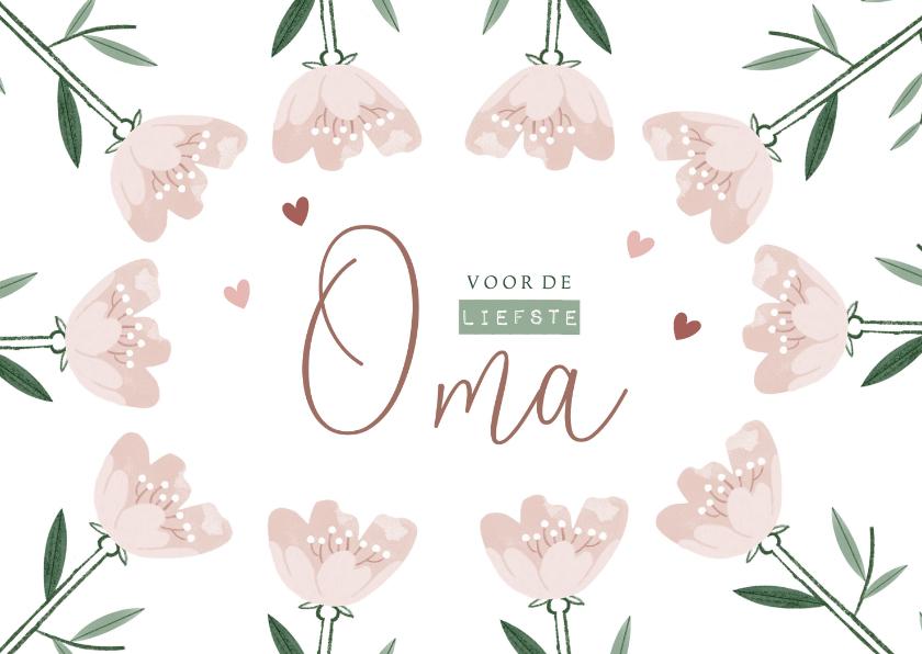 Moederdag kaarten - Moederdagkaart liefste oma met roze bloemen en hartjes